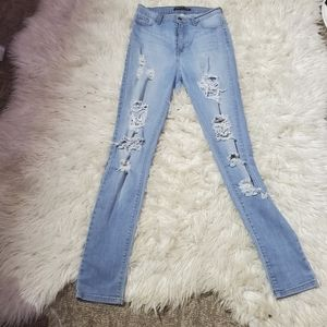 Fashion nova high rise distressed skinny jeans